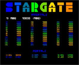High Score Screen for Stargate.