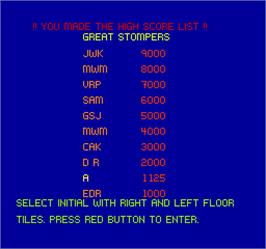 High Score Screen for Stompin'.