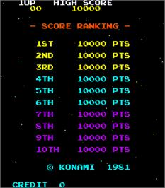 High Score Screen for Strafe Bomb.