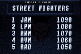 High Score Screen for Street Fighter: The Movie.