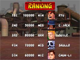 High Score Screen for Street Fighter EX.