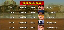 High Score Screen for Street Fighter EX Plus.