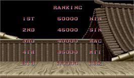 High Score Screen for Street Fighter II': Champion Edition.