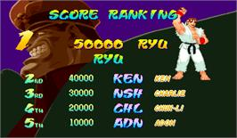 High Score Screen for Street Fighter Zero.