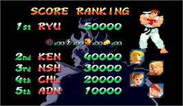 High Score Screen for Street Fighter Zero 2 Alpha.