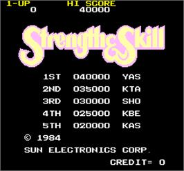 High Score Screen for Strength & Skill.
