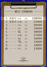 High Score Screen for Strikers 1945.