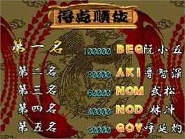 High Score Screen for Suikoenbu / Outlaws of the Lost Dynasty.