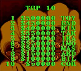 High Score Screen for Sunset Riders.