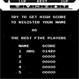 High Score Screen for Super Astro Fighter.