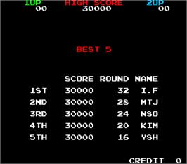High Score Screen for Super Bobble Bobble.