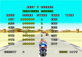 High Score Screen for Super Hang-On.