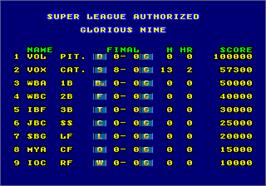 High Score Screen for Super League.