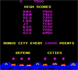 High Score Screen for Super Missile Attack.