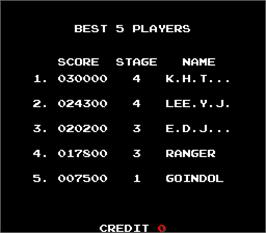 High Score Screen for Super Ranger.