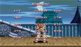 High Score Screen for Super Street Fighter II: The New Challengers.