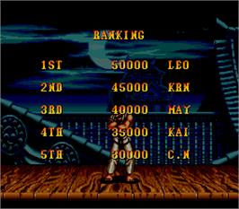 High Score Screen for Super Street Fighter II - The New Challengers.