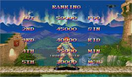 High Score Screen for Super Street Fighter II X: Grand Master Challenge.