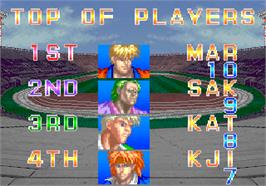 High Score Screen for Taito Cup Finals.