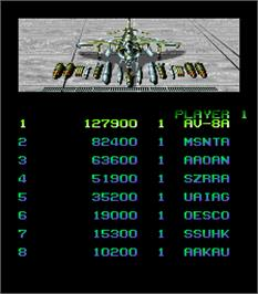 High Score Screen for Task Force Harrier.