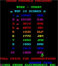 High Score Screen for Tazz-Mania.