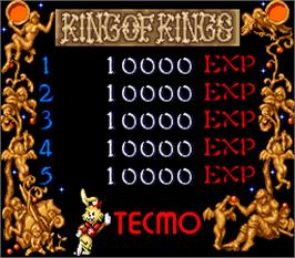 High Score Screen for Tecmo Knight.
