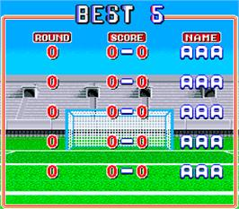 High Score Screen for Tecmo World Cup '90.