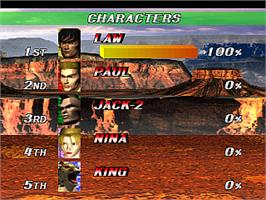 High Score Screen for Tekken 2.