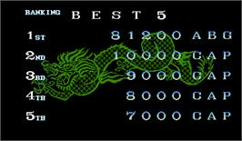High Score Screen for Tenchi wo Kurau.