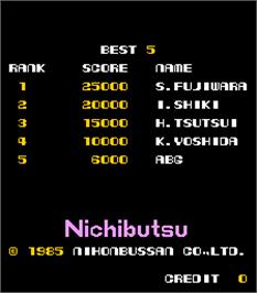 High Score Screen for Terra Cresta.