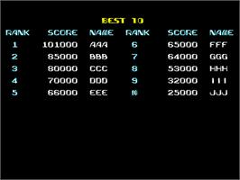 High Score Screen for Terra Force.