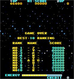 High Score Screen for The Alphax Z.