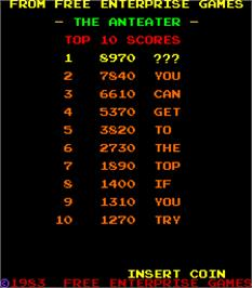 High Score Screen for The Anteater.