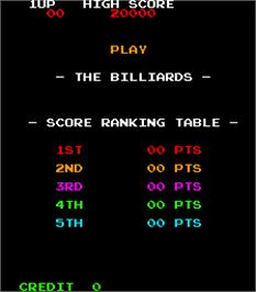 High Score Screen for The Billiards.