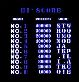 High Score Screen for The Deep.