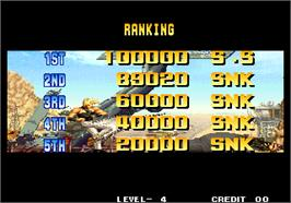 High Score Screen for The King of Fighters '95.