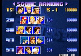 High Score Screen for The King of Fighters '97 Plus.