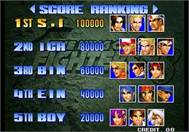High Score Screen for The King of Fighters '98 - The Slugfest / King of Fighters '98 - dream match never ends.