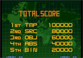 High Score Screen for The King of Fighters 10th Anniversary.