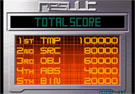 High Score Screen for The King of Fighters 10th Anniversary 2005 Unique.