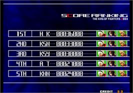 High Score Screen for The King of Fighters 2004 Ultra Plus.