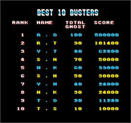 High Score Screen for The Real Ghostbusters.