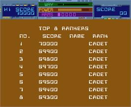 High Score Screen for Thunder Ceptor II.