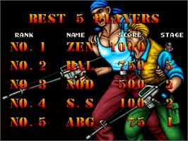 High Score Screen for Thunder Zone.
