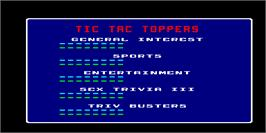 High Score Screen for Tic Tac Trivia.