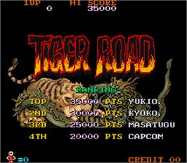 High Score Screen for Tiger Road.