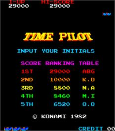 High Score Screen for Time Pilot.