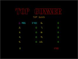 High Score Screen for Top Gunner.