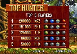 High Score Screen for Top Hunter - Roddy & Cathy.