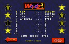 High Score Screen for Touchmaster 4000.